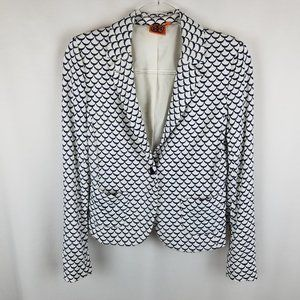 Tory Burch jacket cream/navy scalloped pattern  M